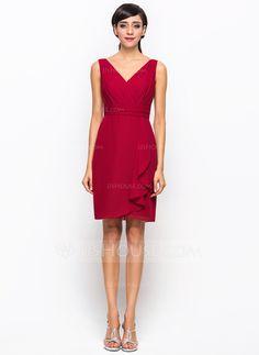 A-Line Princess V-neck Knee-Length Chiffon Bridesmaid Dress With Cascading 22a1d6741