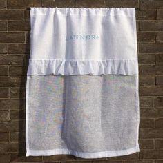 White Linen Ruffle Laundry Curtain