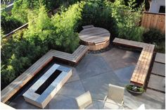 Bench integrated into the design of the patio