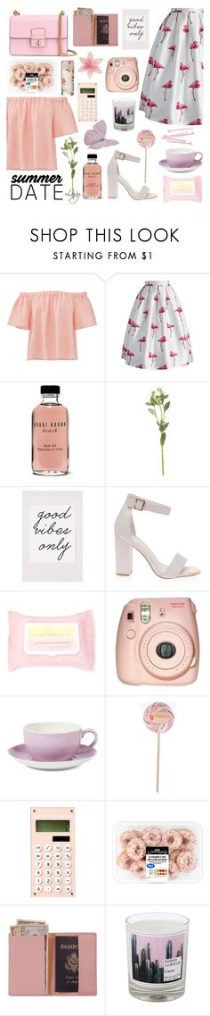 """""""pinky date"""" by reinaaai ❤ liked on Polyvore featuring BOBBY, Rebecca Taylor, Chicwish, Bobbi Brown Cosmetics, OKA, Urban Outfitters, Forever 21, Fujifilm, Dibbern and Royce Leather"""