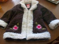 Girls 24 months Brown Corduroy Pink Embroidered Faux Fur Trimmed Coat Teddy Boom by RobinP