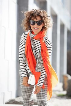 coral scarf, striped top outfit, mix of prints outfit, mixing prints in one outfit, fall outfit ideas,