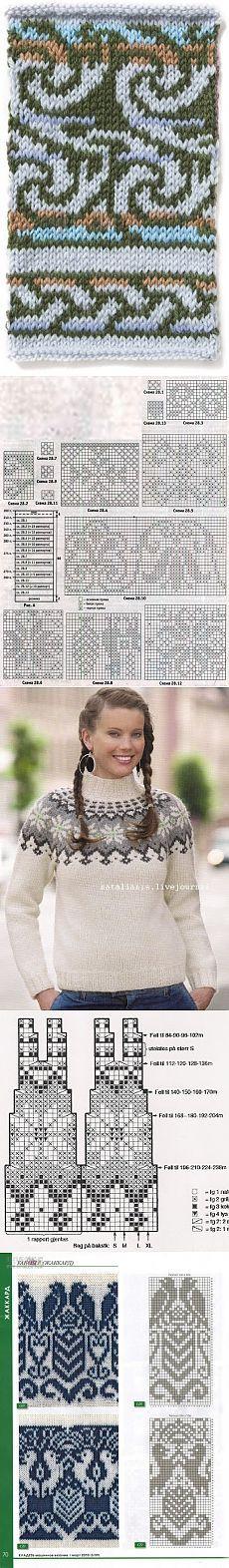 Жаккард (спицами) Fair Isle Knitting Patterns, Fair Isle Pattern, Knitting Charts, Knitting Stitches, Knitting Designs, Knit Patterns, Knitting Projects, Hand Knitting, Crochet Cross
