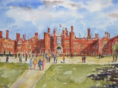 Hampton Court, Art For Sale, The Hamptons, Watercolour, Ink, Summer, Painting, Pen And Wash, Watercolor Painting
