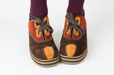 WOW!! Funky throwback!  1970s Platform Shoes - 70s Disco Shoes - Suede Leather - Color Block and Striped - Mens 9 / Womens 11