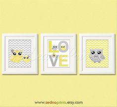 Yellow and grey owl Nursery Art Print Set  5x7  by SednaPrints