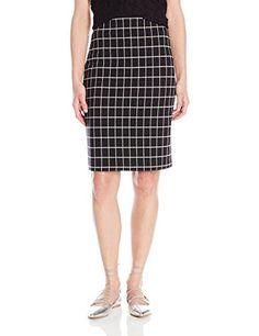 PARIS SUNDAY Womens Windowpane Check Pencil Skirt BlackWhite XLarge >>> See this great product.