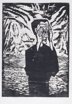 """Man on a Plain by Erich Heckel Woodcut, 1917. """"The taut, attenuated forms of this self-portrait and the pulsating lines coming from the sky reflect the oppressiveness and strain of the war years. The composition has been compared to Munch's lithograph of The Scream of 1895 where the reverberating parallel lines reflect the anguish of the figure."""""""