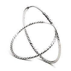 Simple Style Of 925 Sterling Silver Hoop Earrings
