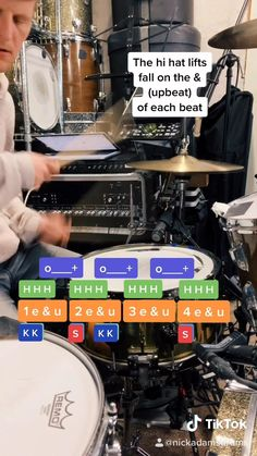 """A 30 second drum lesson teaching how to play the drum beat in the Tool song """"Sober"""" // Danny Carey Music Lessons For Kids, Music Lesson Plans, Drum Lessons, Samba Drums, Danny Carey, Percussion Drums, Drum Patterns, Drums Beats, Drum Cover"""