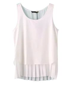 Pure Color Pleated Tank