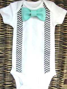 Baby Boy Clothes - Boys Bow Tie  - Tuxedo Shirt - Coming Home Outfit - Chevron Suspenders Blue Bow Tie - First Birthday - Boys Easter Outfit