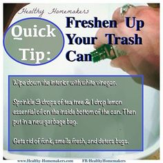 Quick tip/ life hack- Sanitize and freshen your garbage can, keep it funk-free and smelling nice. Keep Bugs Away, Organization Hacks, Organizing, Laundry Hacks, Garbage Can, Lemon Essential Oils, Kitchen Hacks, Homemaking, Cleaning Hacks
