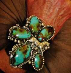 """NATIVE AMERICAN TURQUOISE LEATHER BRACELET 94g Sterling Silver G.CHAVEZ,4"""" wide #GLORIACHAVEZNAVAJO"""