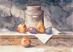Milk Can with Fruit See more at:  http://www.DianeStoneArt.com #art #watercolors #paintings