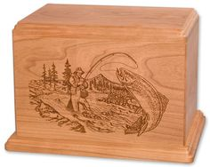Cherry Stream Fishing Wood Cremation Urn. Currently Available for purchase on Ecrater.com