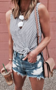 #summer #outfits Striped Tie Tank + Ripped Denim Short