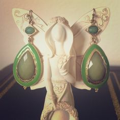 Green Stone Dangle Earrings  Feminine and gorgeous, these earrings will add a beautiful element to your outfit. Jewelry