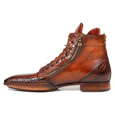 Paul Parkman Men's Shoes Genuine Crocodile / Calfskin Zipper Brown Boots Material: Genuine Crocodile / Calfskin Hardware: Gold Color: Brown Outer Sole: Leather Comes with Original box and Mens Shoes Boots, Mens Boots Fashion, Men's Shoes, Fashion Shoes, Shoe Boots, Dress Shoes, Expensive Mens Shoes, Crocodile Boots, Gentleman Shoes