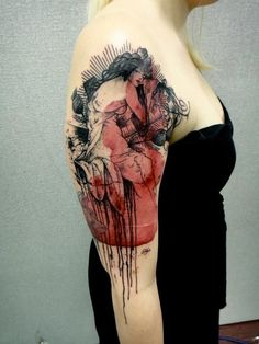 Beautiful! - Alfonse Mucha Art Nouveau inspired re interpreted modern abstract colour arm tattoo pin up