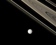 Saturn: Bright Tethys and Ancient Rings   Image Credit: Cassini Imaging Team, SSI, JPL, ESA, NASA