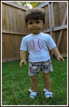 Love of Baseball Boy Doll Short Set, fits American Boy Custom, 18 inch boy dolls, Doll Clothes, Boy Doll Clothes, Summer Sports by GiGisDollCreations on Etsy https://www.etsy.com/listing/386925536/love-of-baseball-boy-doll-short-set-fits