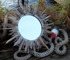 "30"" Driftwood Sunburst Mirror Beach Decor Cottage. $89.00, via Etsy."