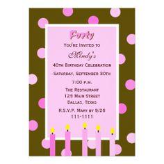 40th Birthday Party Invitation -- Pink Polka Dots