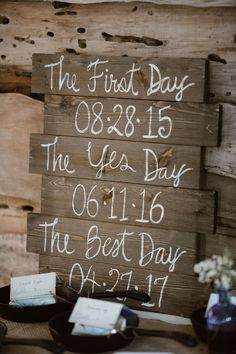 """Rustic wooden wedding sign with """"The First Day"""", """"The Yes Day"""", and """"The Best Day"""". Lavender & Plum Wedding Ideas Cute Wedding Ideas, Wedding Themes, Perfect Wedding, Dream Wedding, Wedding Day, Plum Wedding, Wedding Favors, Garden Wedding, Wedding Flowers"""