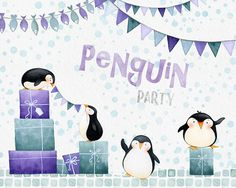 Penguin Party - watercolor clipart By Watercolor Nomads Penguin Illustration, Watercolor Illustration, Animal Illustrations, Penguin Clipart, Winter Clipart, Penguin Party, Site Website, Photoshop, Branding