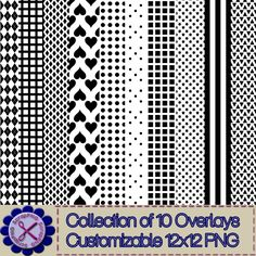 Overlay Set 1 - Collection of 10 Basic Shapes 12x12 Patterns - $5.00 : ScrapPNG, Digital Craft Graphics