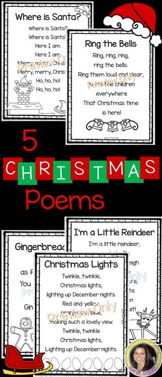 5 Christmas Poems for kids | Where is Santa? | Ring the Bells | Gingerbread Man | I'm a Little Reindeer | Christmas Lights | Printable poems | Christmas songs for kids