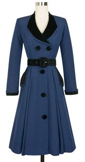 Candice Gwinn Fontaine Coat Dress cg-d6021-darkblueribbedrayon