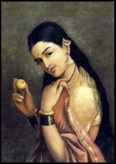 Lady holding a fruit by raja ravi verma. National gallery of modern art, delhi india