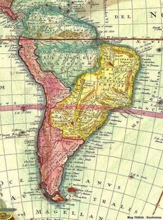Mapa antiguo de América del Sur; mapa antigo da América do Sul; old map of South America.