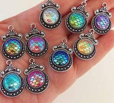 5 Mermaid scale charms, pretty decorative ornate mermaid scale pendants in different colors, 5 for only $2.99 and you can buy by the piece after that by IndieFindings