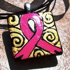 PINK RIBBON BREAST CANCER AWARENESS PENDANT WEARABLE ART Focal BEAD | GardenGoddessMosaics - Jewelry on ArtFire