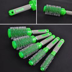 5in1サロングリーンラウンド髪カーリングブラシプロフェッショナル理髪カーラーくし理髪店用スタイリングツール