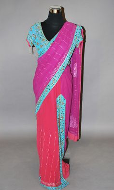 13233cf9f43ed Onion and purple dual toned stitched saree with contrast blouse