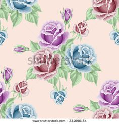 Seamless pattern with roses and leaves. Vector illustration in retro style.  - stock vector