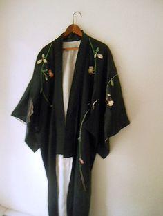 Vintage black embroidered Kimono duster Jacket by houuseofwren