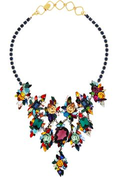 Erickson Beamon Gunmetal and gold-plated Swarovski crystal necklace