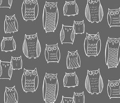Fabric for changing pad. mom you want to make me a changing pad cover right? :) Night Owl fabric by leanne on Spoonflower Paper Scrapbook, Scrapbooking, Owl Nursery, Nursery Gray, Nursery Ideas, Nursery Fabric, Woodland Nursery, Nursery Neutral, Nursery Inspiration