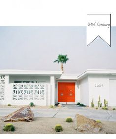 Cute orange door with all white exterior.very Palm Springs Palm Springs Restaurants, Palm Springs Style, Palm Springs California, Orange Front Doors, Mid-century Modern, Modern Design, Br House, House Front, California Bungalow