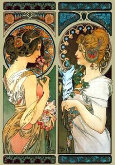 My favorite artist and my favorite work of his... Primrose and Feather by Alphonse Mucha #art