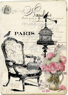 parisian collage, parisian decoupage.