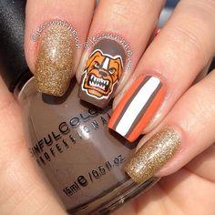 c63c9fadd70 Cleveland Browns by jessuhhhkuh  nail  nails  nailart Football Nail  Designs