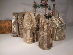 """Tin Father Christmas Belsnickle St Nicholas Santa Chocolate Mold Lot 3-1/2""""-5-1/8"""", 1920-1940, St Nick F. Cluydis Antwerpen.   Sold  Ebay   489.00"""