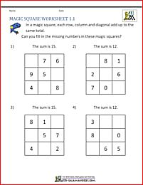 1st Grade Magic Square puzzle - fill in the missing numbers to make a magic square.