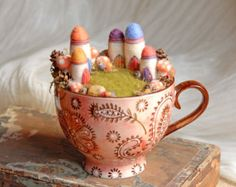 Fairy Garden and Houses, Waldorf Fairy Village in a Cup, Needle Felted